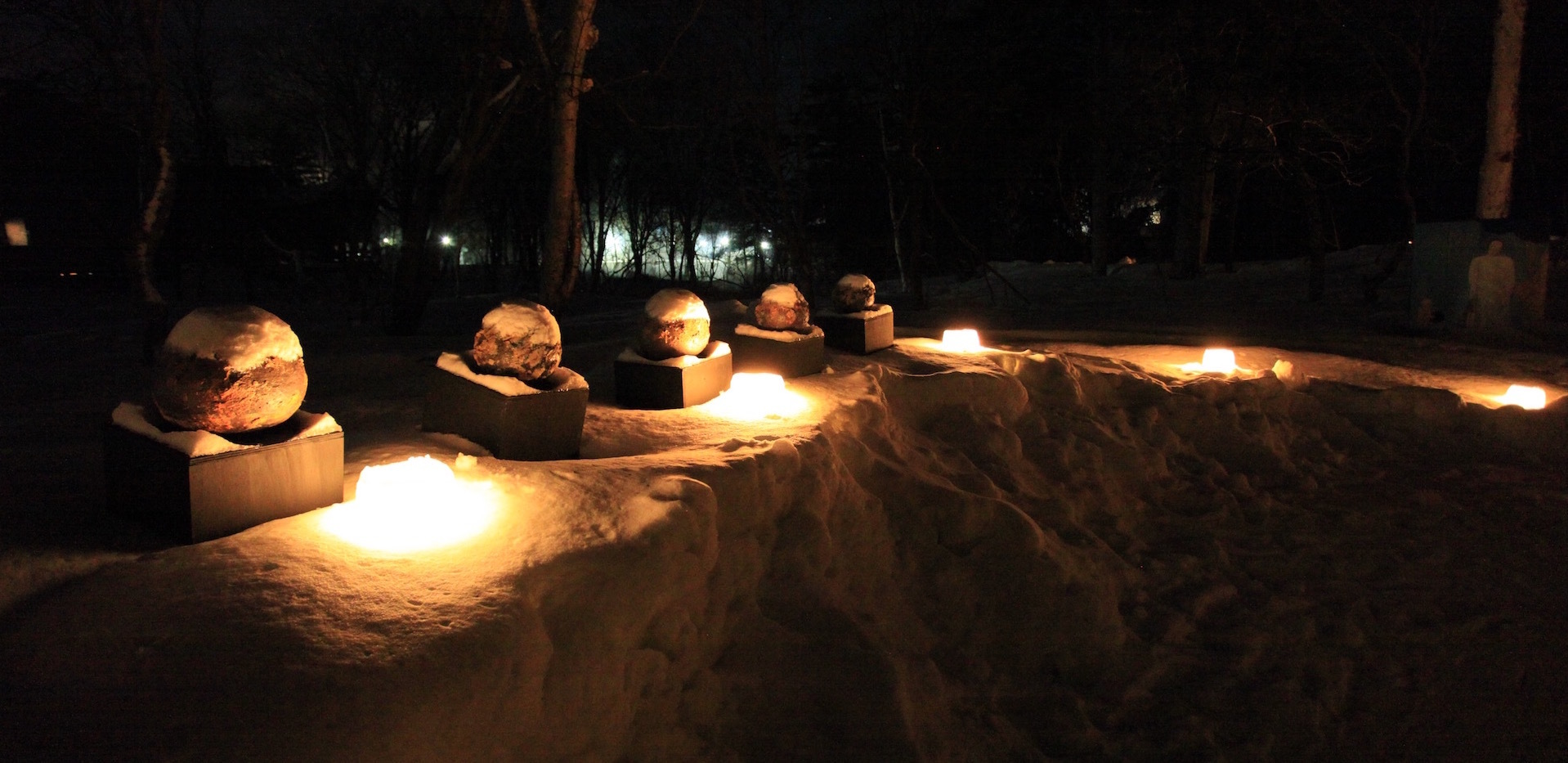 The collaboration of art works and snow light